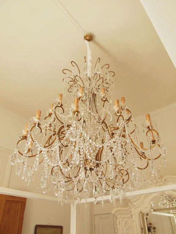 Impressive Italian Chandelier with Vintage Murano Glass Crystals 2