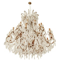 Impressive Italian Chandelier with Vintage Murano Glass Crystals