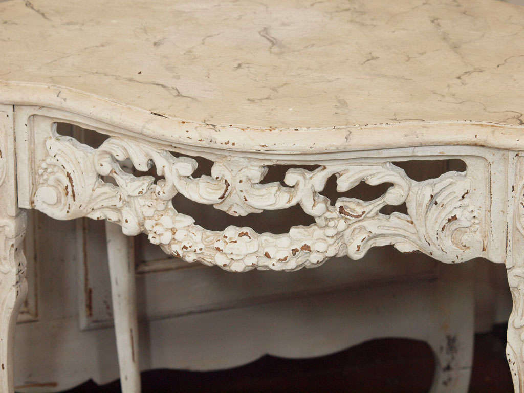 19th Century Italian Ivory Painted and Carved Side or End Table 3
