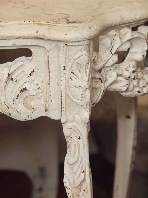 19th Century Italian Ivory Painted and Carved Side or End Table 4
