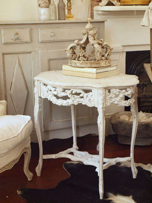 19th Century Italian Ivory Painted and Carved Side or End Table 8