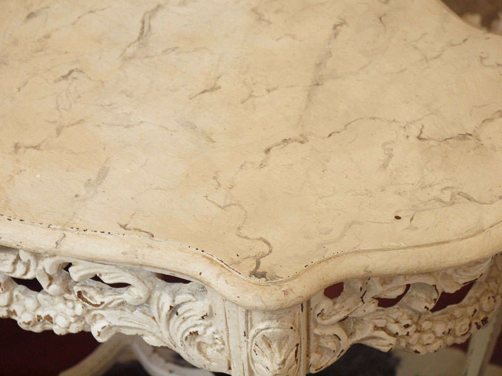 19th Century Italian Ivory Painted and Carved Side or End Table 9