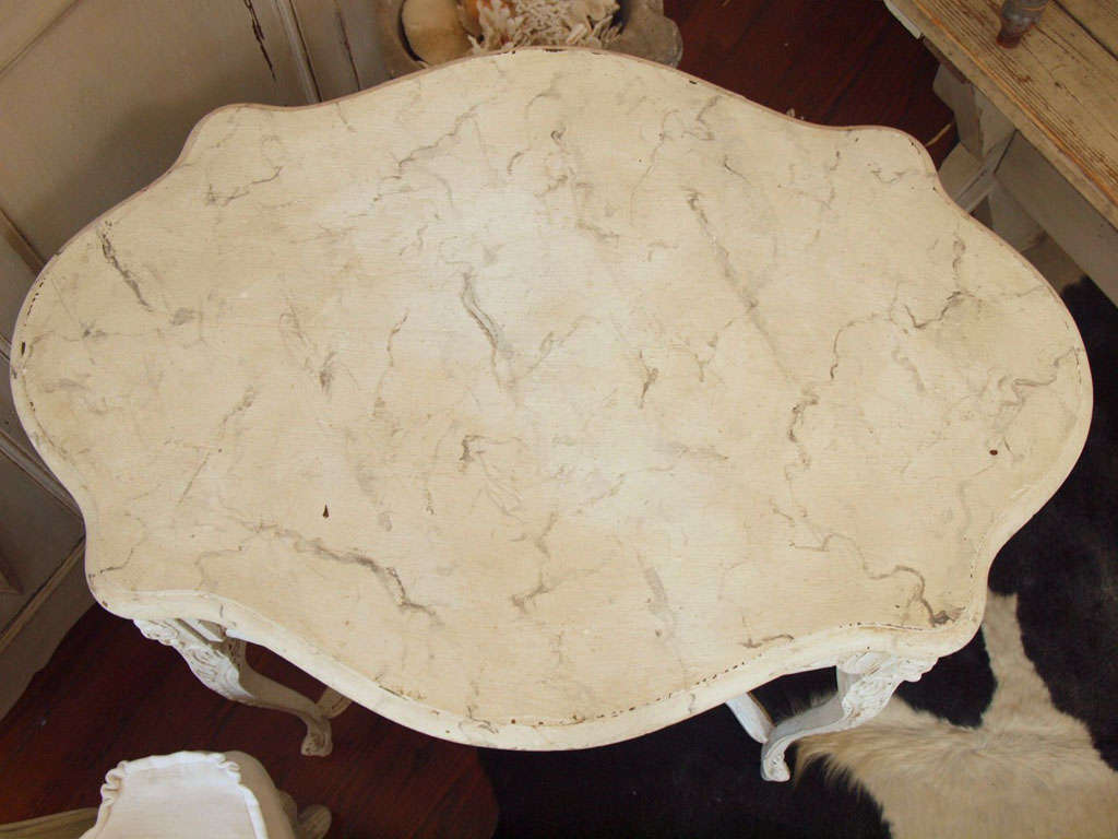 19th Century Italian Ivory Painted and Carved Side or End Table 10