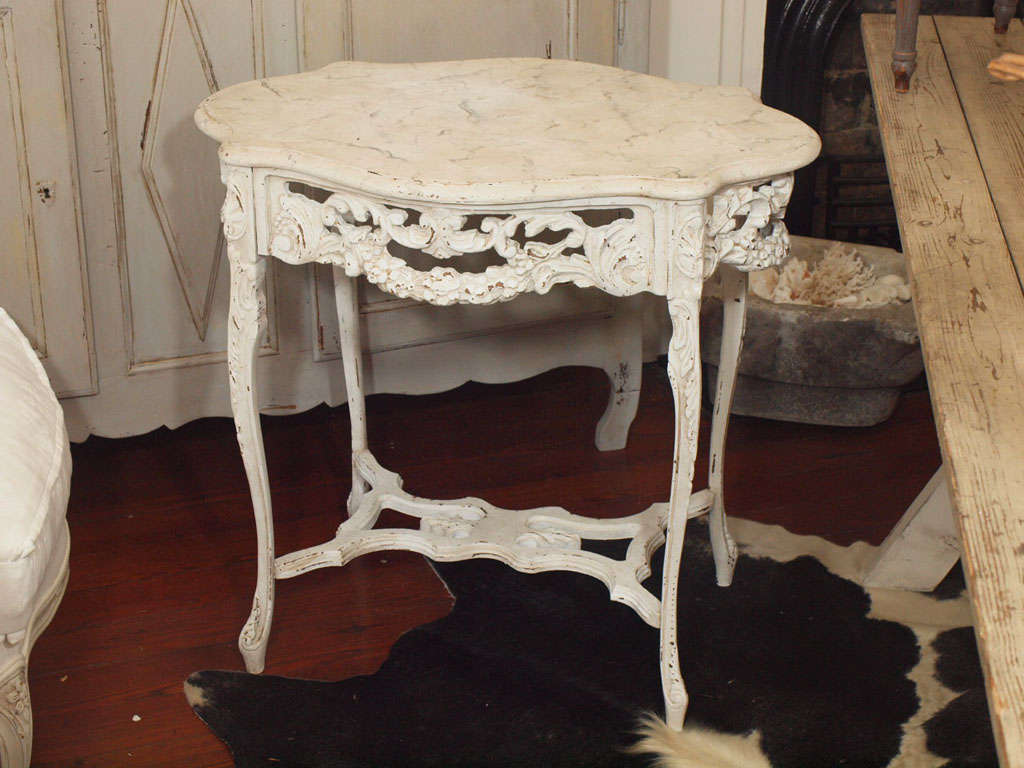 19th Century Italian Ivory Painted and Carved Side or End Table 2