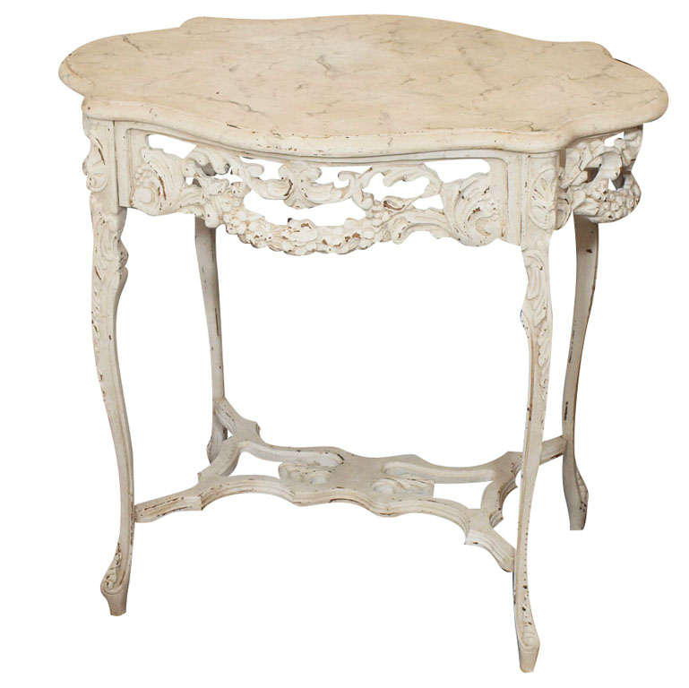 19th Century Italian Ivory Painted and Carved Side or End Table 1