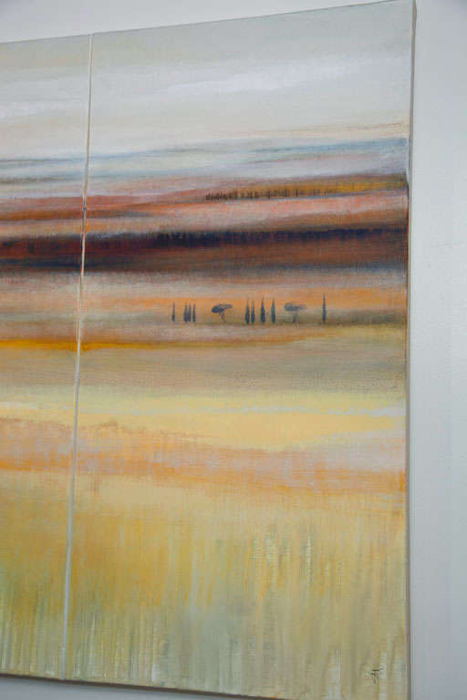 Modern Abstract Landscape Oil on Canvas Tryptique In Excellent Condition For Sale In Mt Kisco, NY