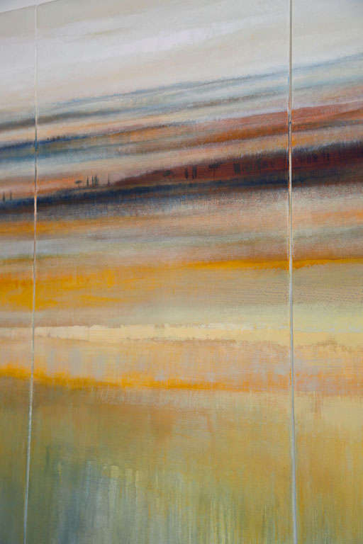 Contemporary Modern Abstract Landscape Oil on Canvas Tryptique For Sale