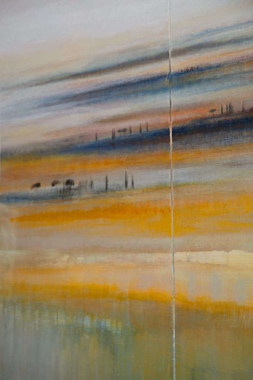Modern Abstract Landscape Oil on Canvas Tryptique For Sale 1