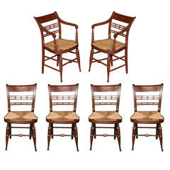 Set of Six Sheraton Rush Chairs