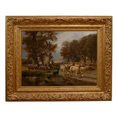 French American Oil Painting of Sheep and Shepherdess in Gilded Frame circa 1900