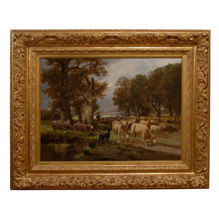 French American Oil Painting of Sheep and Shepherdess in Gilded ...