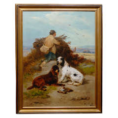 Very Large Oil Painting of A Hunter with His Dogs