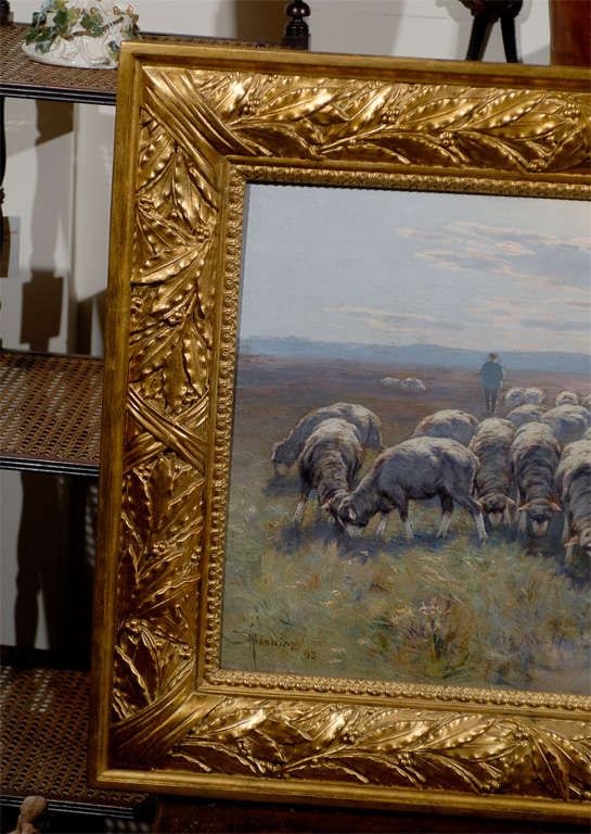 1893 Swedish Pastoral Oil on Canvas Sheep Painting By Rudolph von Frisching In Good Condition For Sale In Atlanta, GA