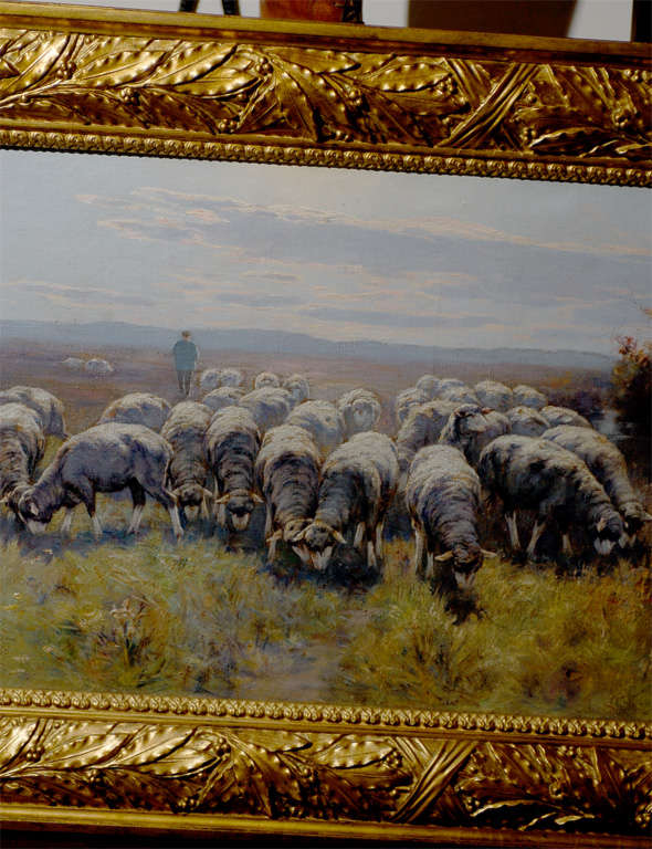 19th Century 1893 Swedish Pastoral Oil on Canvas Sheep Painting By Rudolph von Frisching For Sale