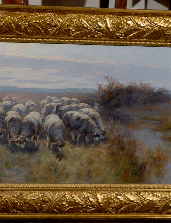 1893 Swedish Pastoral Oil on Canvas Sheep Painting By Rudolph von Frisching For Sale 1