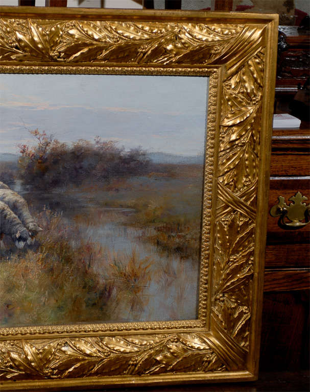1893 Swedish Pastoral Oil on Canvas Sheep Painting By Rudolph von Frisching For Sale 2