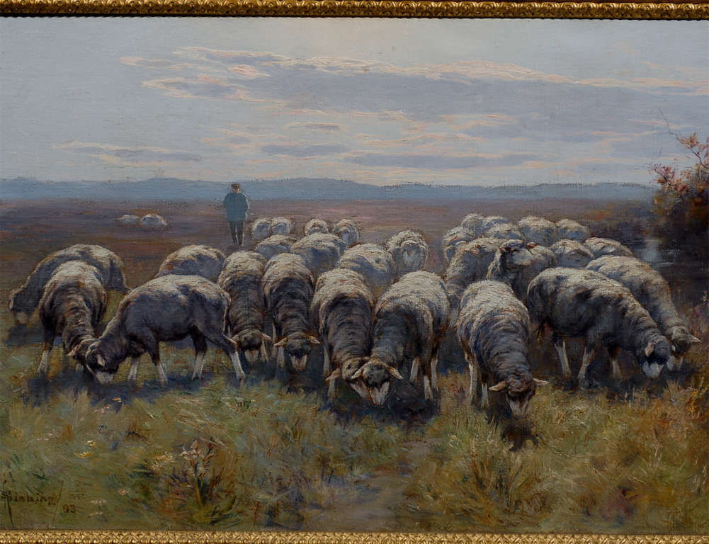 1893 Swedish Pastoral Oil on Canvas Sheep Painting By Rudolph von Frisching For Sale 3