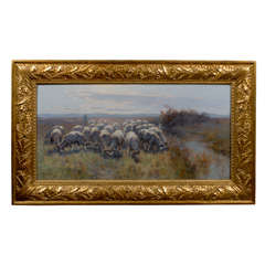 Sheep in Landscape Oil Painting on Canvas in Antique Giltwood Frame