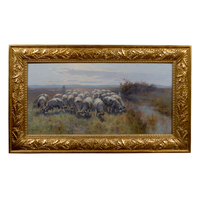 1893 Swedish Pastoral Oil on Canvas Sheep Painting By Rudolph von Frisching For Sale