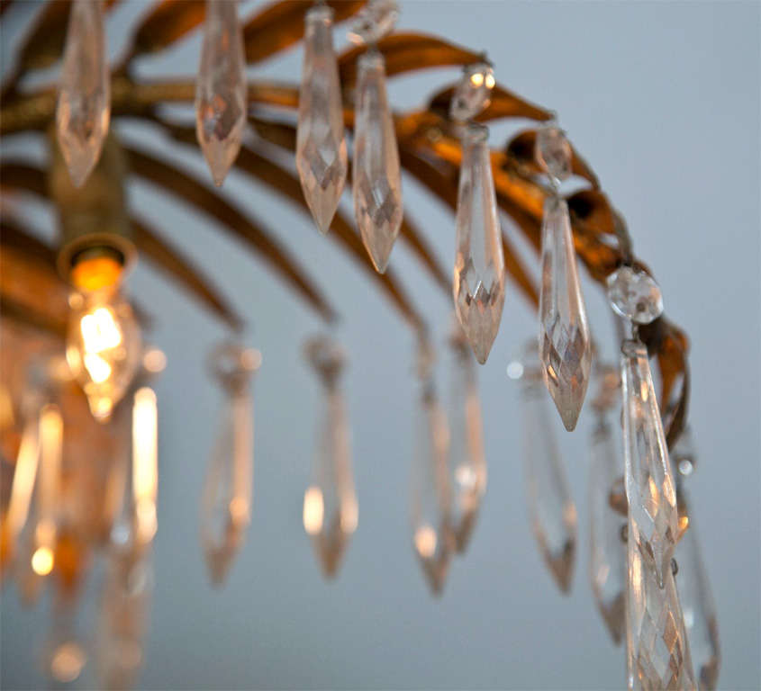 Brass Palm Leaf With Crystals Chandelier At 1stdibs