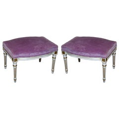 Pair of French Louis XVI Style Painted Foot Stools