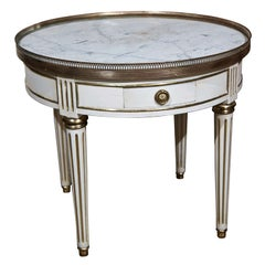 French Painted Louis XIV Style Gueridon Low Table With Single Drawer Marble Top