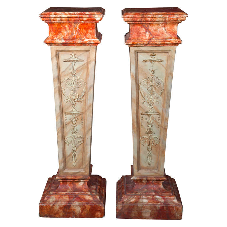 Pair of Faux Marble Pedestals