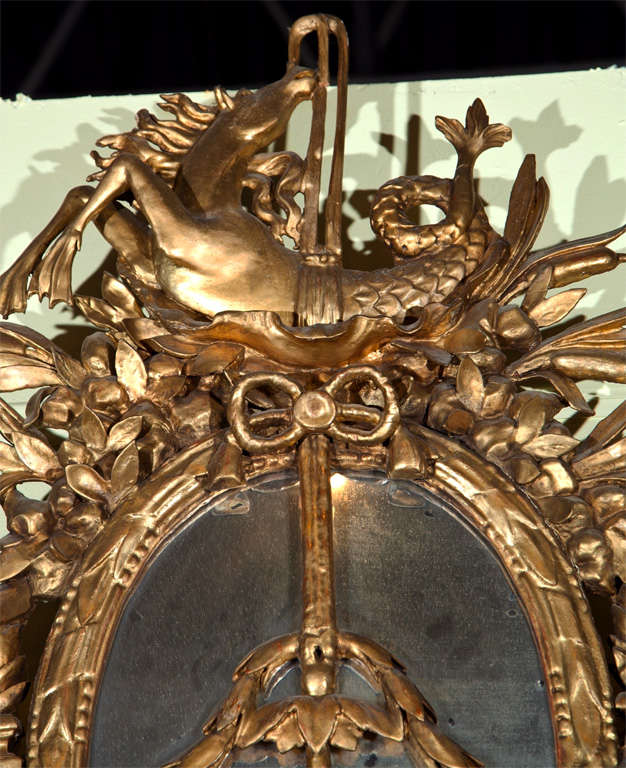 Wood 18th Century Italian Carved Giltwood Mirror For Sale