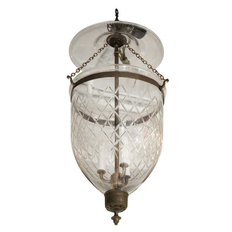 Antique Bell Jar With Diamond Etchings At 1stdibs