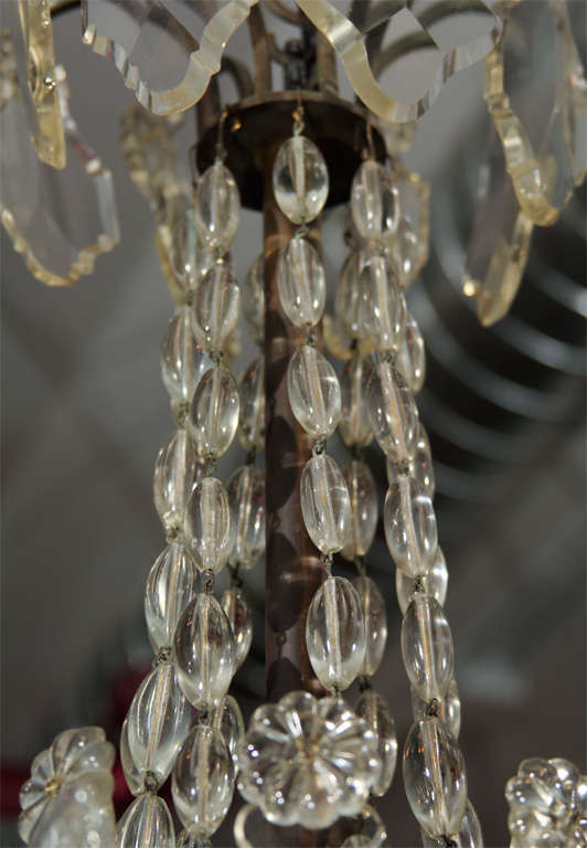Handsome Glass Bead and Crystal Chandelier For Sale 3
