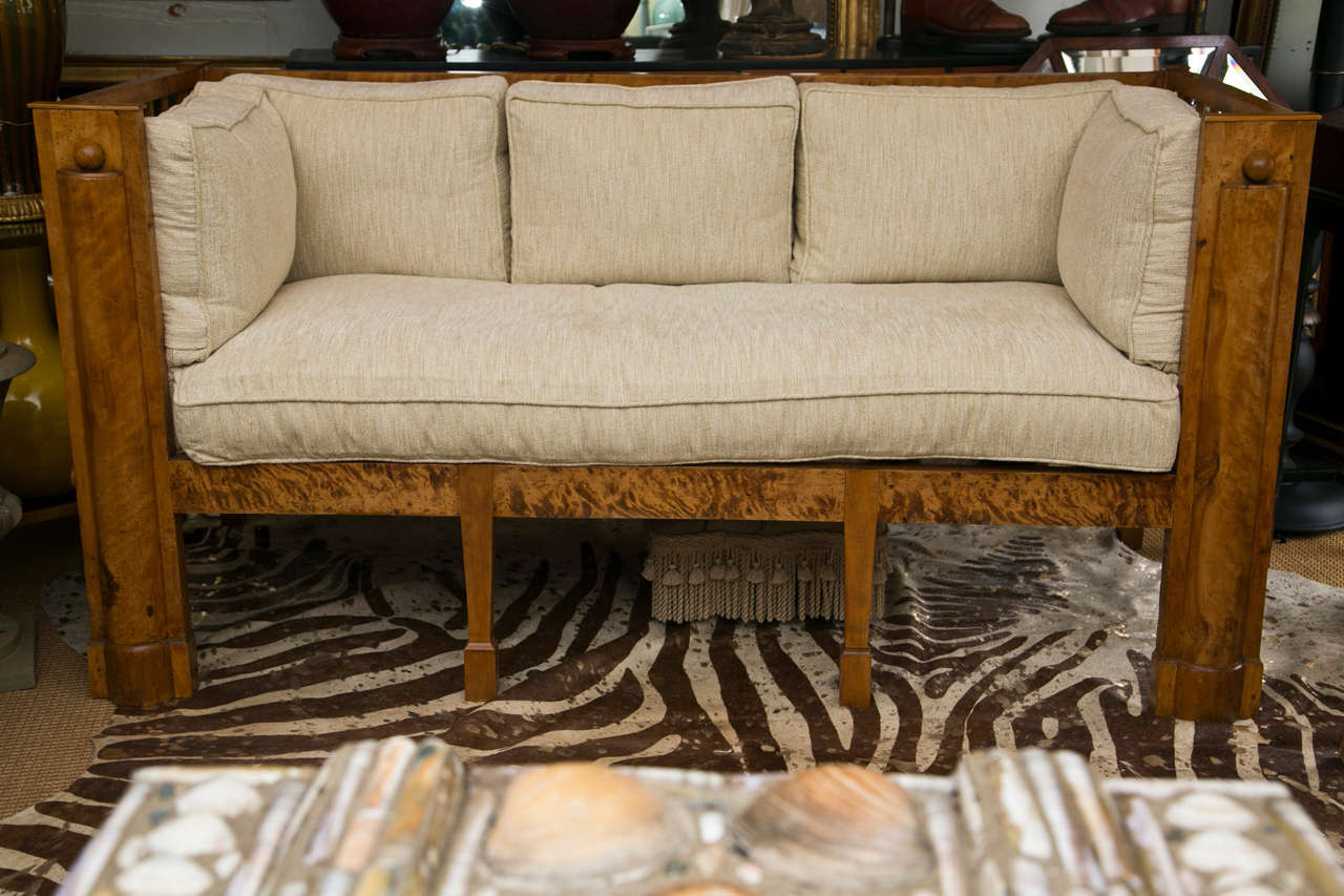Stately Tiger Maple Biedermeier Sofa For Sale 4