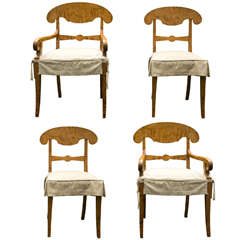 A Set of 4 Tiger Maple Biedermeier Dining Chairs