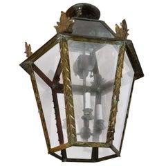 Large Italian Brass Hanging Lantern