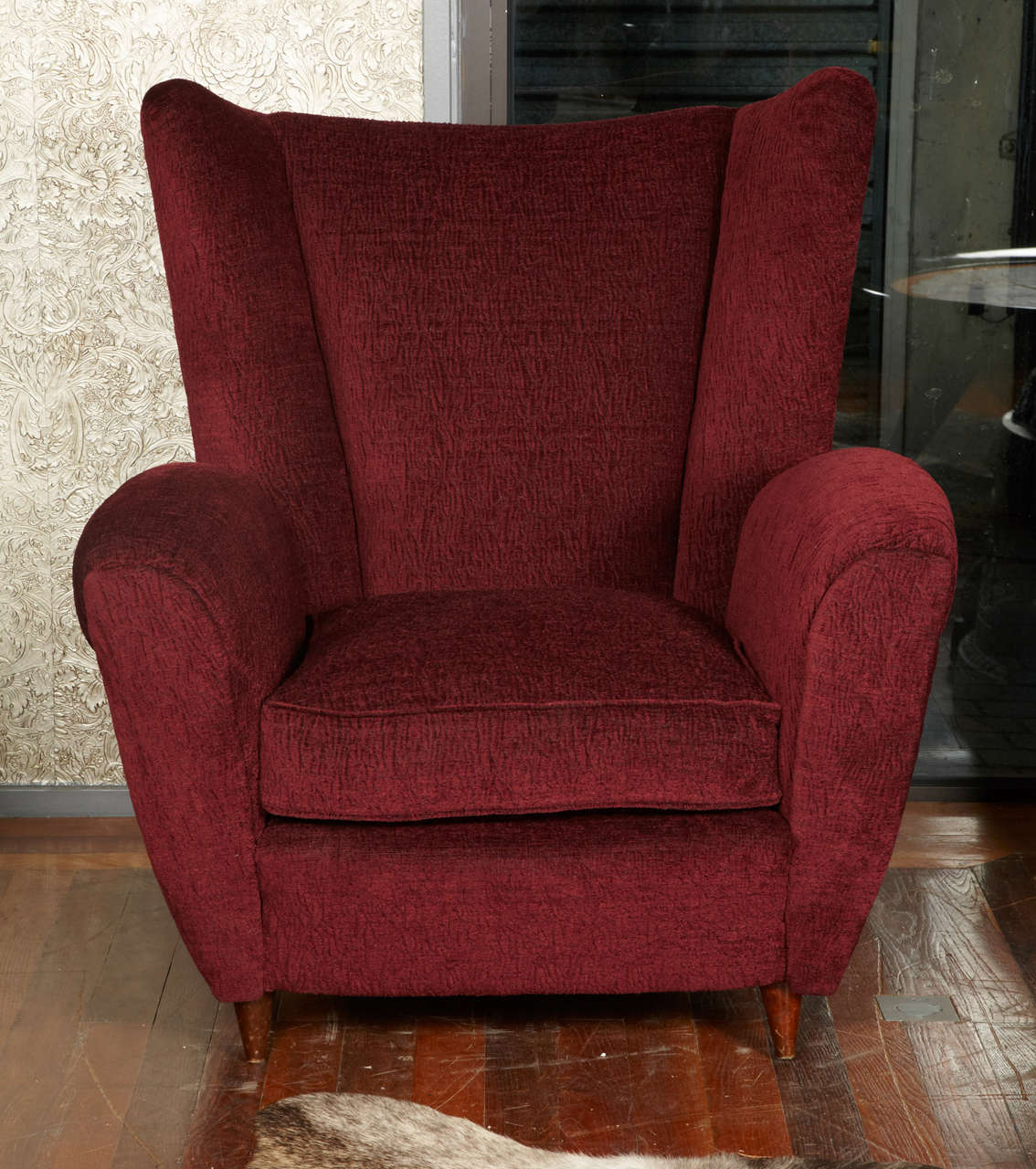 Pair of entirely restored and red fabric covered armchairs, wood feet