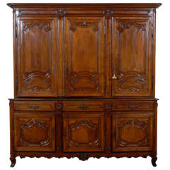 French, 1750 Period Louis XV Large Two-Part Wooden Cabinet from Lorraine Region