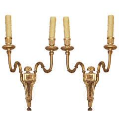 18th Century Pair Italian Gilt Wood Sconces