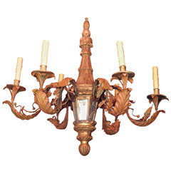 Early 20th Century Wood, Tole And Iron Chandelier