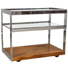 Merrow Associates Rosewood, Chromed Steel & Glass Bar Cart