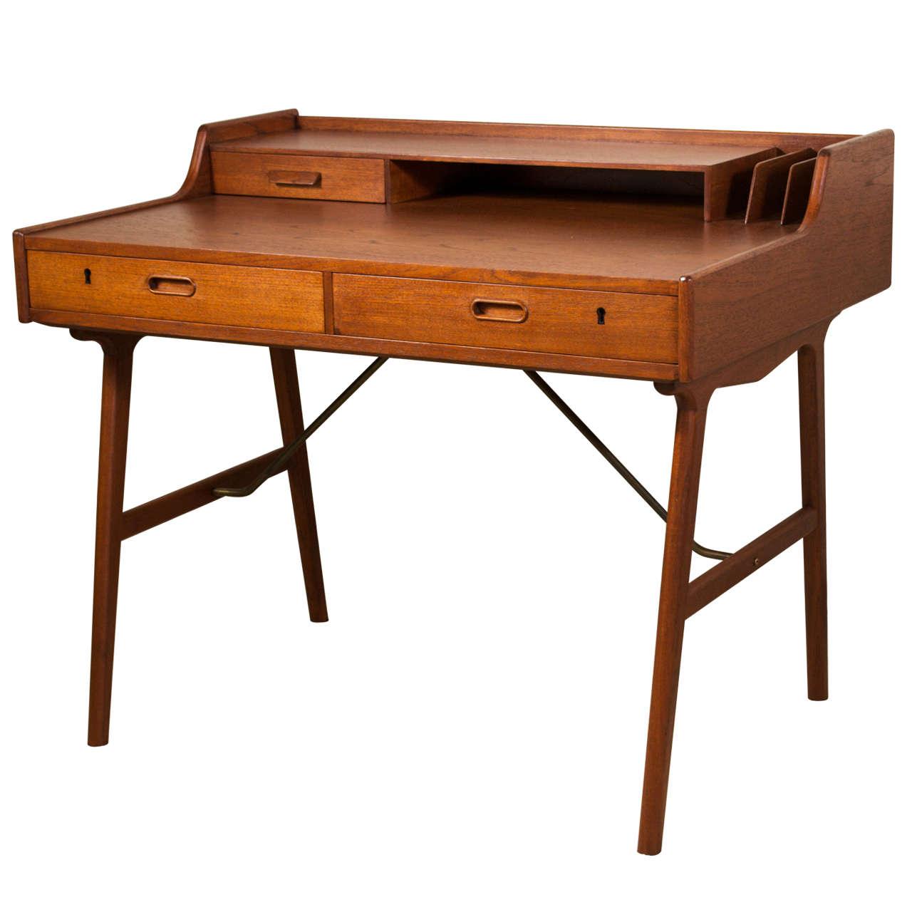 Danish Modern Desk In Teak By Arne Iversen Wahl At 1stdibs