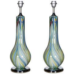 Pair of 1980s Murano Glass Lamps