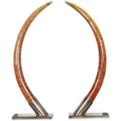 Huge 1970s Elephant Tusk Lamps in Resin by Marie-Claude de Fouquières
