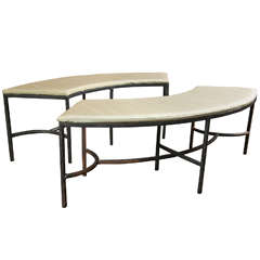 Pair of Handcrafted Curved Iron Benches