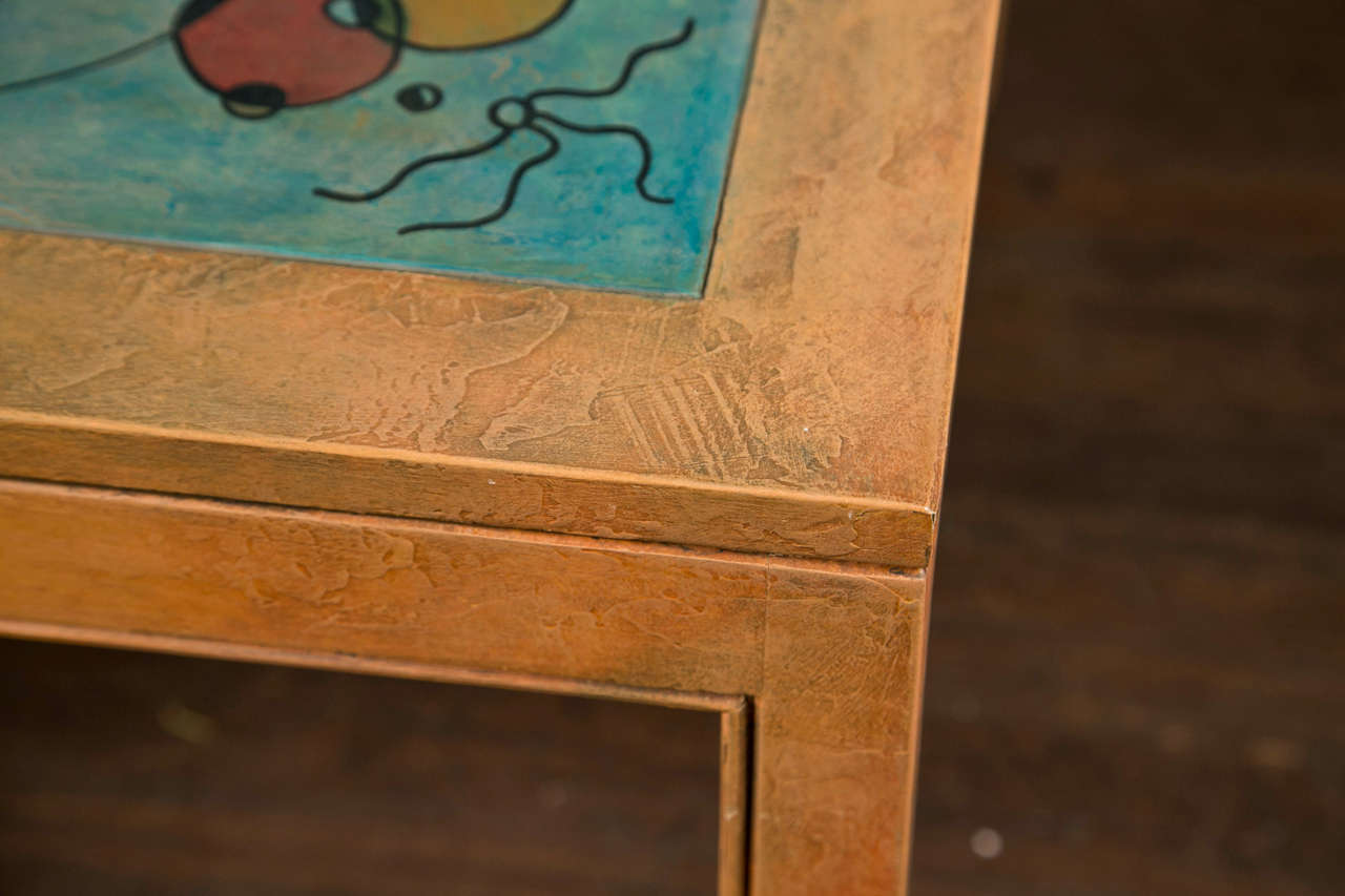 American Abstract Painting Square Table For Sale