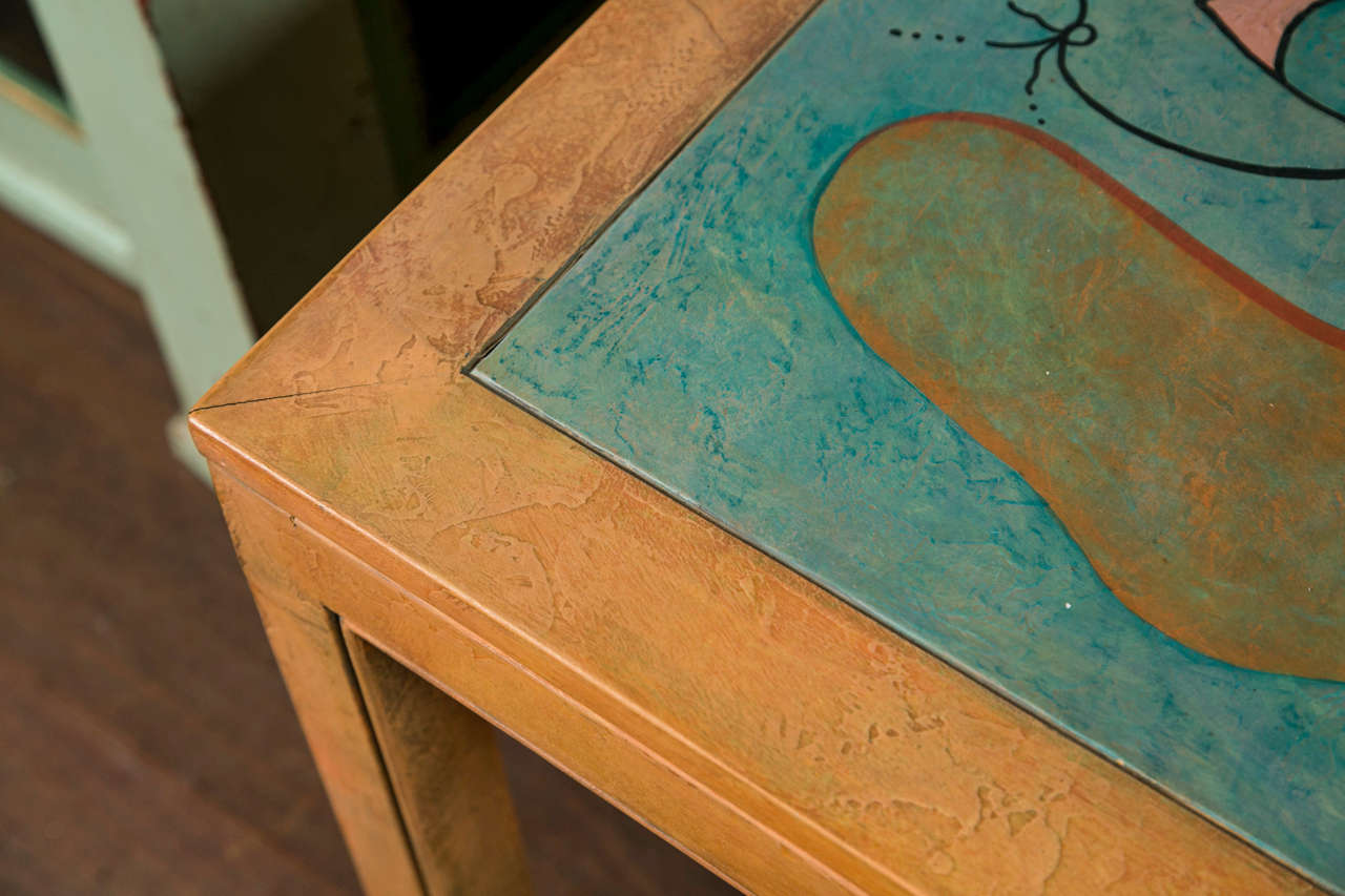 Abstract Painting Square Table In Good Condition For Sale In Stamford, CT