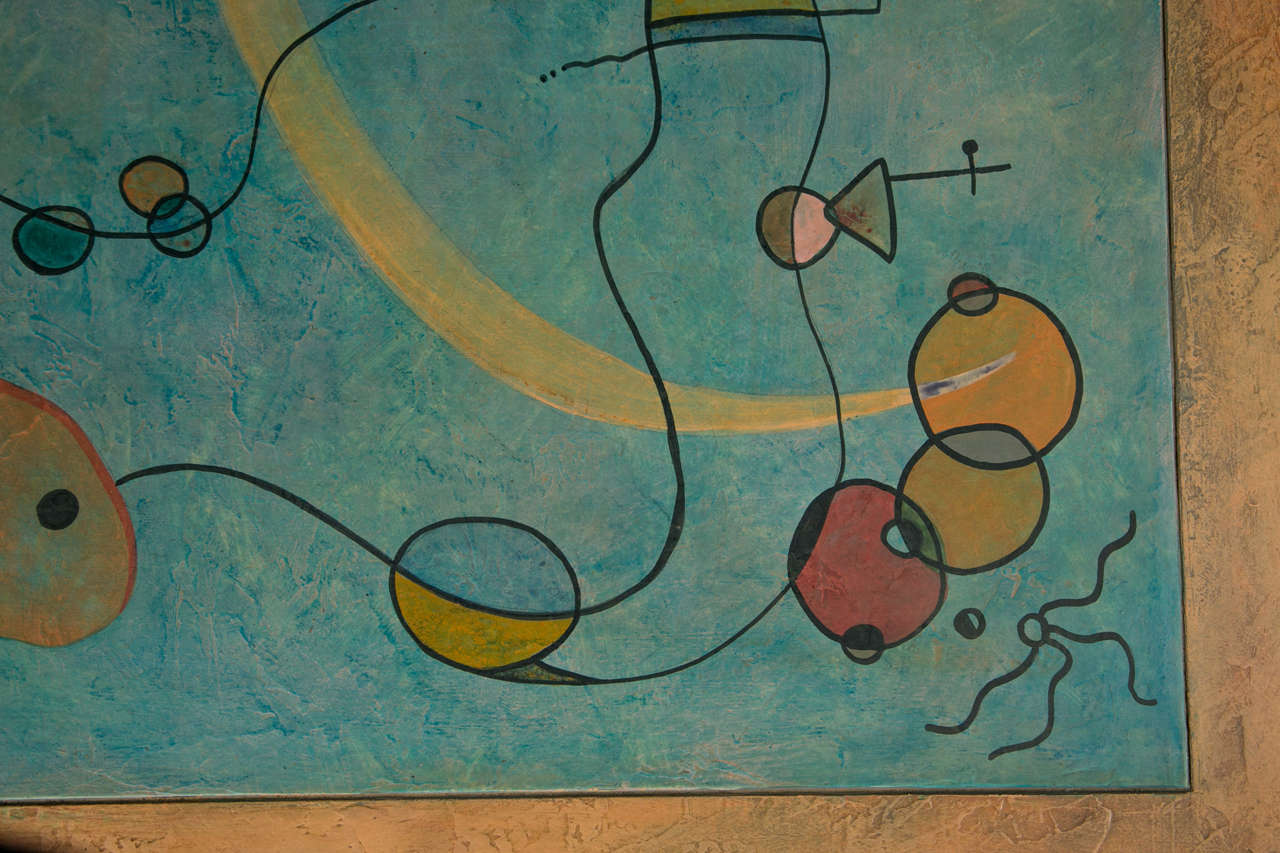 Late 20th Century Abstract Painting Square Table For Sale