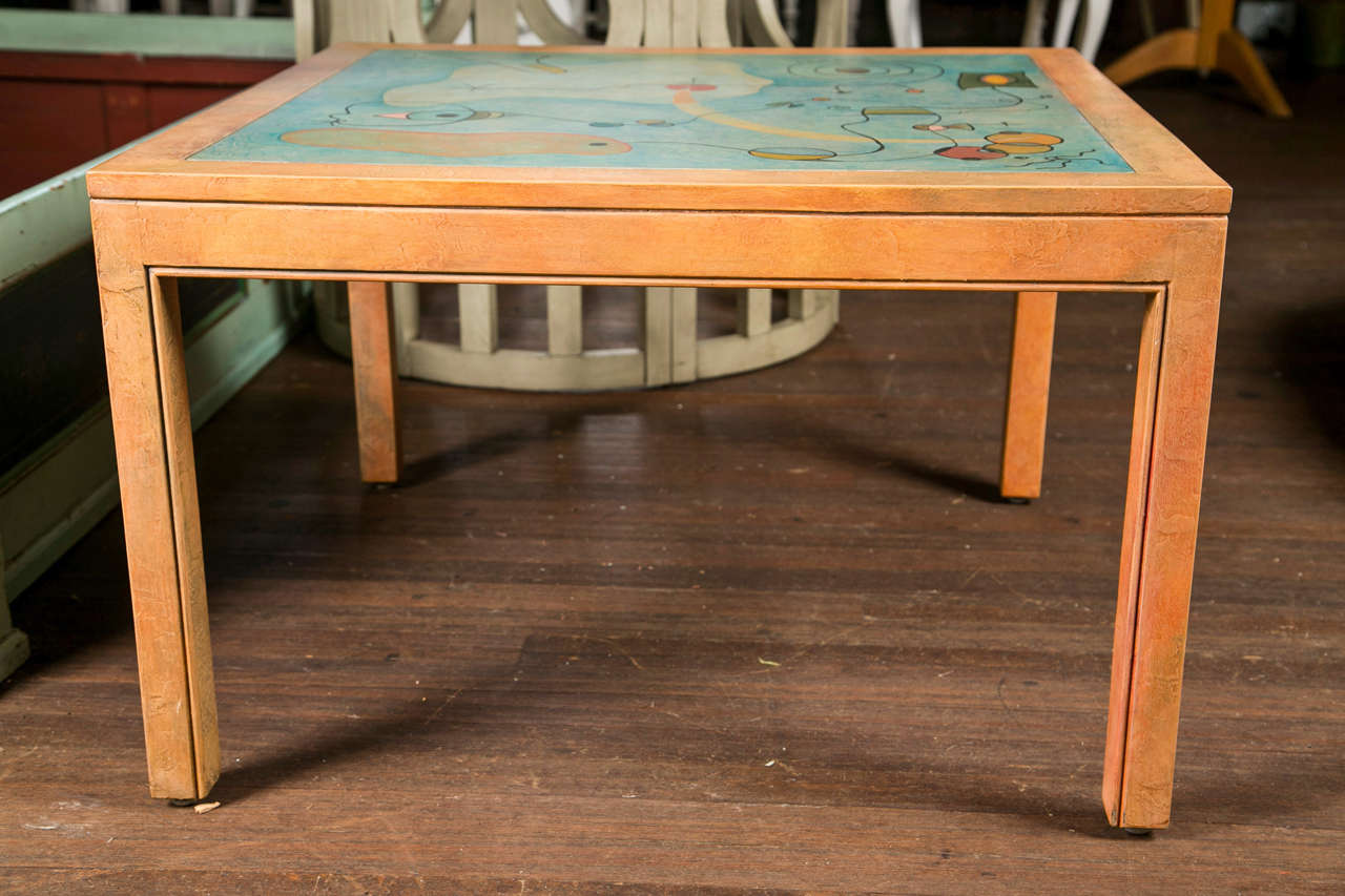 Abstract Painting Square Table For Sale 1