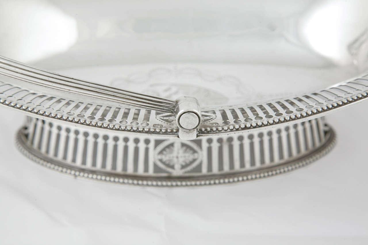 British George III Sterling Silver Cake Basket For Sale