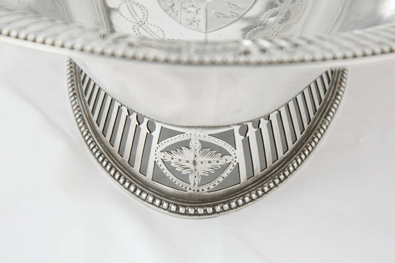 18th Century and Earlier George III Sterling Silver Cake Basket For Sale