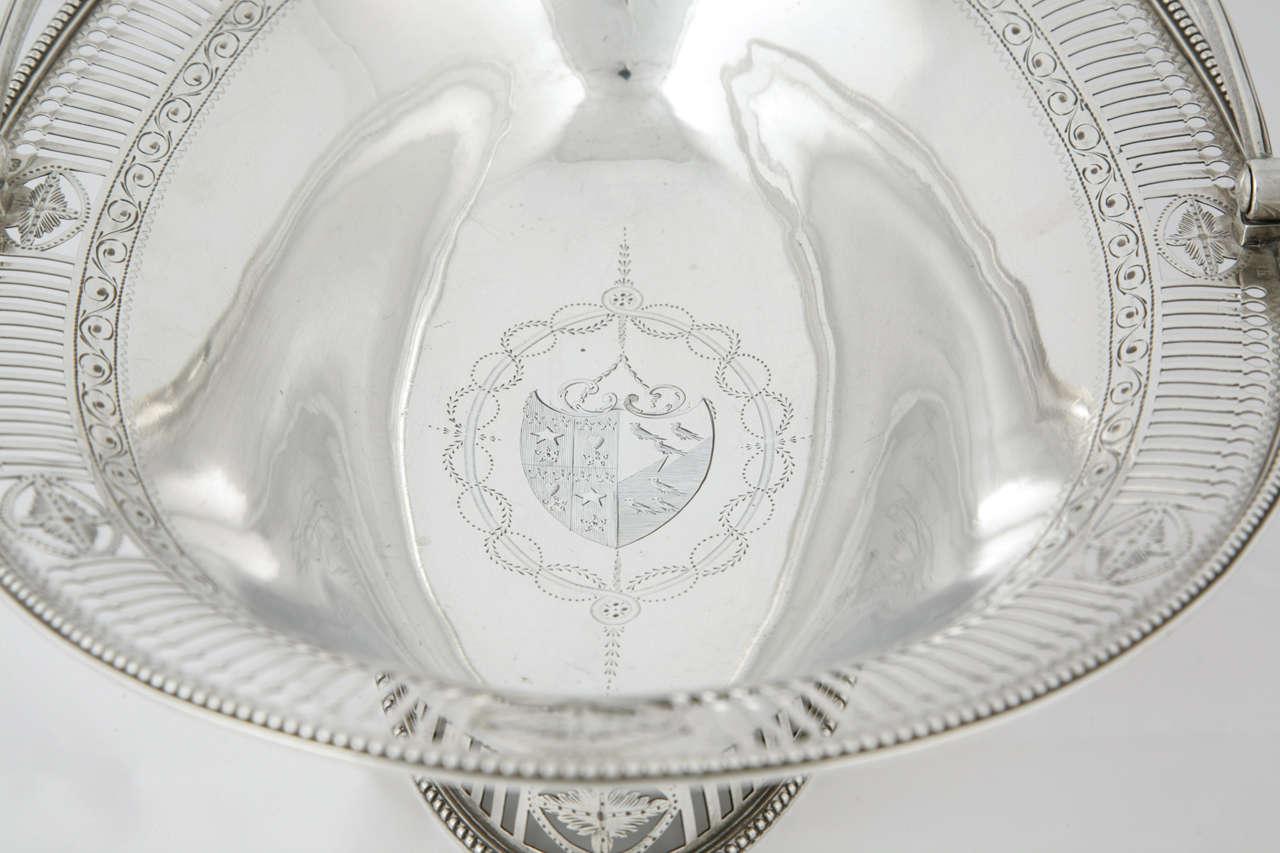 George III Sterling Silver Cake Basket For Sale 2