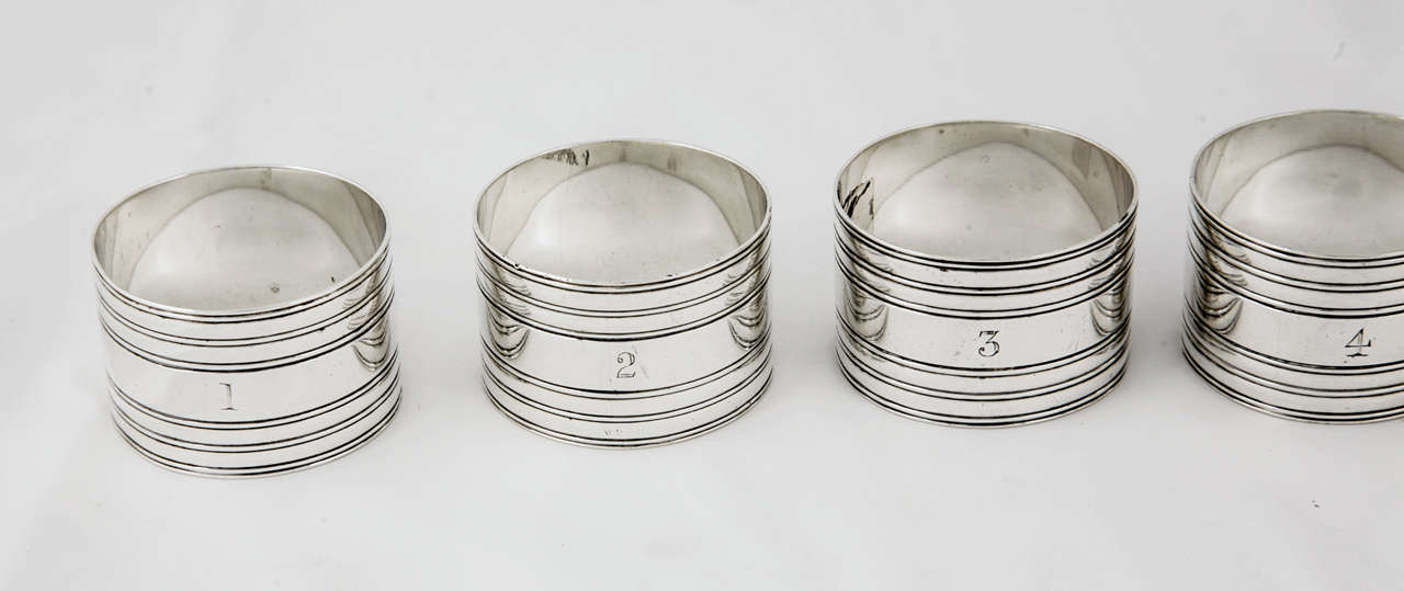 set of six sterling silver napkin rings at 1stdibs
